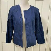 Talbots Blazer Suit Jacket Sz 8 Blue Linen Peplum Hem Hidden Snap Front Photo