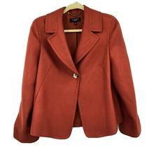Talbots Blazer Sz 10 Orange Ribbed Wool Blend Career Jacket Photo