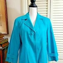 Talbots Blue Fitted Blazer Jacket Cotton Spandex Waffle Texture  Sz 16p Petite Photo