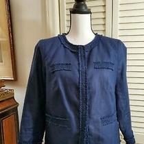 Talbots Blue Fitted Blazer Jacket Linen Cotton Blend  Sz 6 Photo
