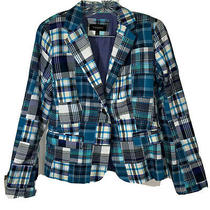 Talbots Blue Patchwork Blazer Sz 8 Women's Misses Plaid Jacket  Photo