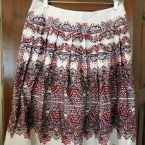 Talbots Blue Red White Paisley Pleated a Line Skirt Sz 6p 6 Petite Photo