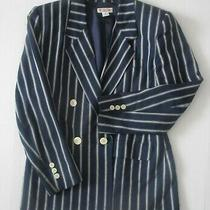 Talbots Blue Striped Blazer Women's Size 4 Jacket Flap Pockets Double Breasted Photo