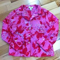 Talbots Bright Pink Floral Button Down Blouse With Collar - Size 10 - Classy  Photo