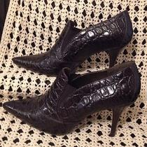 Talbots Brown 7m Leather Ankle Booties Heels Worn1x Made in Brazil Retail 148 Photo