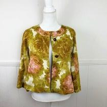 Talbots Brown Blush Pink Green Floral Blazer Jacket Women Size 4 Brown Buttons Photo