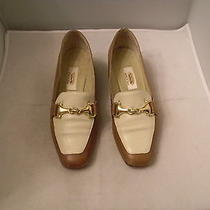 Talbots Brown & White Leather Loafers Size 5.5m With 1.25