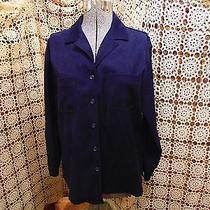 Talbots Button Navy Blue Stretch Micro Suede Blouse Shirt - Women Size Large Photo