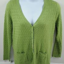 Talbots Cable Knit Cardigan Sweater Green Pima Cotton Women's Nwt Photo