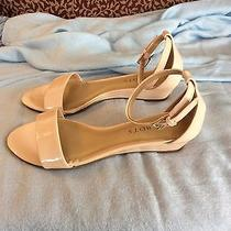 Talbots Camilla Patent Leather Ankle Strap Wedge Sandals Nude 5.5 Nwot Photo