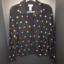 Talbots Cardigan Black With Bright Color Stitched Detail Size Large 22x25 Photo