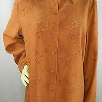 Talbots Cinnamon Brown Micro Suede Eyelet Design Button Shirt Size Large Photo