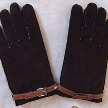 Talbots Collection Brown Velvet Wool Lining Polyester Gloves Size Sm/med Nice  Photo