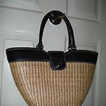 Talbots Cornhusk Woven Tote With Black Leather Trim Footed Large Classic Photo