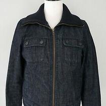 Talbots Dark Blue Jean Denim Full Zip Coat Jacket Size 8 Euc Photo
