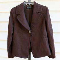Talbots Dark Brown Wool Blend Peacoat Swing Coat Size 4 Suit Blazer Jacket Photo