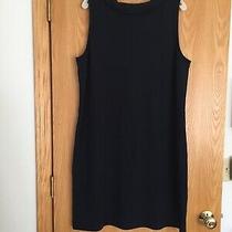 Talbots Dark Navy Stretch Knit Cotton Sleeveless Back Zip Accent Shift Dress Xl Photo