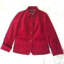 Talbots Deep Red Christmas Corduroy Heavy Blazer Jacket Euc Sz 18w 1x Photo