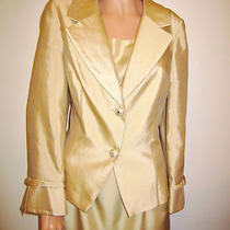 Talbots Deluxe Suit Set Dress & Blazer 2 Pcs Silk Latte Hue Sz 14 Rhinestones    Photo