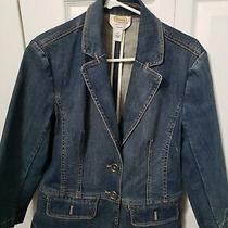Talbots Denim Blazer Blue Jean Jacket Stretch Size 10  Fasst Free Shipping  Photo