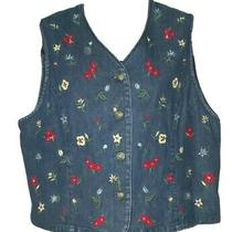 Talbots Denim Embroidered Floral Jean Vest Button Down Petite Medium Pm P M Photo