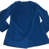 Talbots Double Faced Jacket Wool Blend 3x Blue Full Zip Collarless Warm Cozy Euc Photo