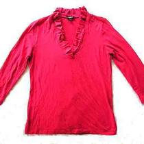 Talbots - Euc Thin Red Knit Top Ruffle Neck 3/4 Sleeve Size S Photo