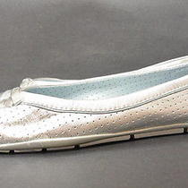 Talbots Flats Shoes 8 1/2 B 8.5 Silver Leather Metallic Driving New Photo