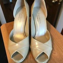 Talbots Genuine Leather Size 7.5b Nude Peep Toe High Heels Pumps Shoes Photo