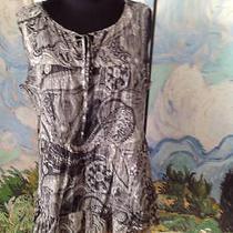 Talbots Gray/ivory Tie v-Neck Ruffle Hem 100% Cotton Sleeveless Top S Photo