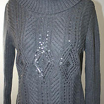 Talbots Gray Ls Cowl Neck Cable Knit Beaded Sweater Mp Photo