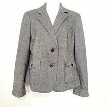 Talbots Gray Tweed Paisley Lined Business Jacket Blazer Wool Blend Size 8 Photo