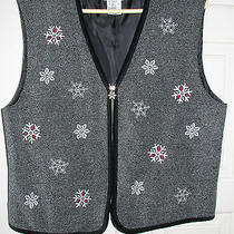 Talbots Grey Snowflake Winter Holiday Vest Photo