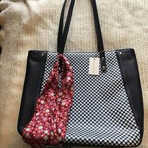 Talbots Handbag Blue and White Bag With Ladybug Scarf That Matches Purse Photo