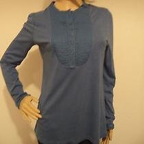Talbots High-End Casual Solid Blue Ruffled Long Sleeve Shirt Women's Size M Photo