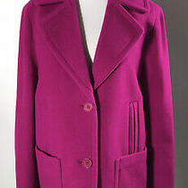 Talbots Hot Pink Wool Blend Winter Coat Swing Day Lady Size 8/10 Large Photo