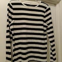 Talbots Ivory/black/gold Stripe Long Sleeve Top - Size Petite Medium Photo
