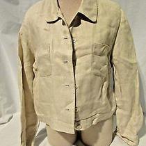 Talbots Jacket Womens Size 10 Beige Jean Jacket Style Irish Linen  Photo