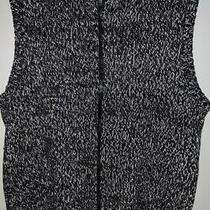 Talbots Knit Sweater Vest Womens Size P Black White Zip Front Cotton Photo