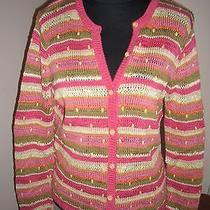 Talbots Knit With Beads Striped Knit Cardigan Sweater  M  Photo