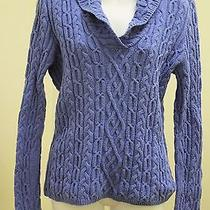 Talbots L Sweater Blue Cable Knit Shawl Collar Fitted Pullover Photo