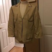 Talbots Ladies Khaki Blazer Suit Jacket Pockets With Darker Trim Career Size 8 Photo