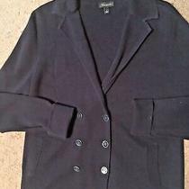 Talbots Ladies Sz L Navy Double-Knit Blazer Sweater Jacket Photo