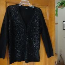 Talbots Lambswool Blend Black Sequin Long Cardigan Sweater - M - Never Worn Photo