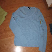Talbots Light Blue Ls Cable Knit v Neck Sweater    M Photo