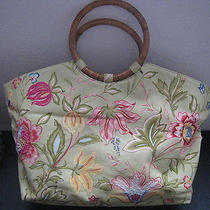 Talbots Light Green With Embroidered Floral Print  Wood Handles Handbag Tote.  Photo