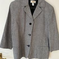 Talbots Linen Jacket Black & White Check Size Usa 8 Uk 10 Photo