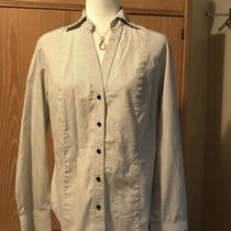 Talbots Long Sleeve v-Neck Button Down Women Dress Shirt Sz 16 White/brown Stipe Photo