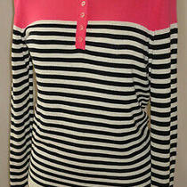 Talbots Long Slv Button Front Striped Pink/white/black Nice Crew Neck Sweater S Photo