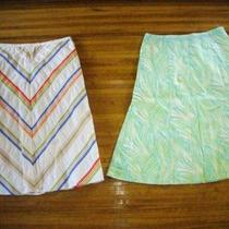 Talbots Lot of 2 Cotton Green Aqua & Dot Skirt 2 Photo